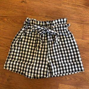 Gingham tie waist shorts